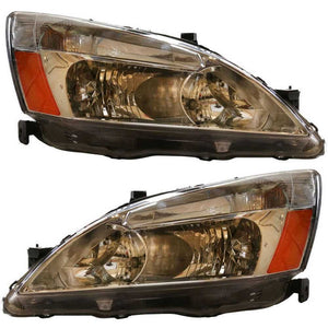 New Left & Right Pair of Headlight Assemblies w/o Bulbs fits 03-07 Honda Accord