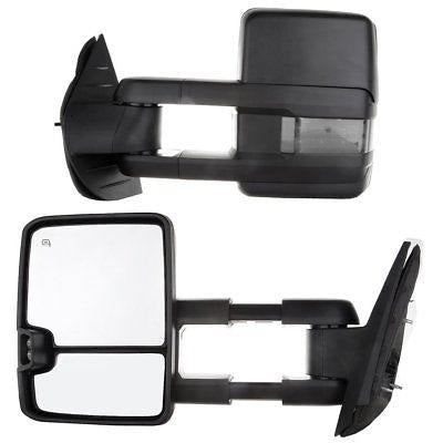 For 07-13 Silverado Sierra Black Tow Power+Heated Smoke+Turn Signal Mirrors