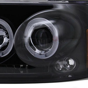 Glossy Black 2004-2008 Ford F150 Halo LED Projector Headlights+Tail Lights Smoke