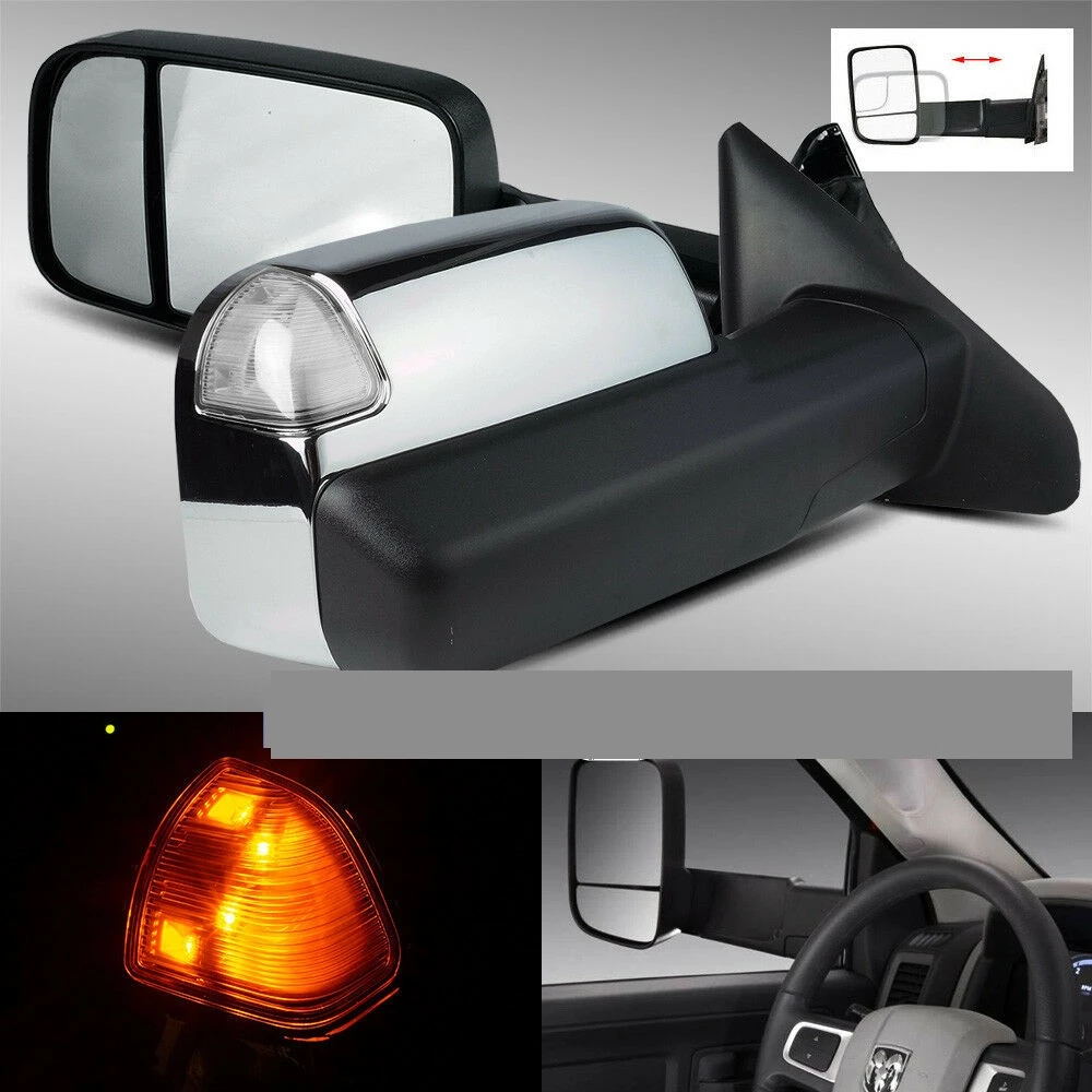 09-17 RAM 1500/10-17 2500/3500 POWER/HEATED CHROME FLIP UP TOWING MIRRORS TEMP SENSOR CLEAR SIGNAL