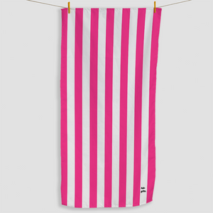 Bright Pink Striped Towel - Haddow Group