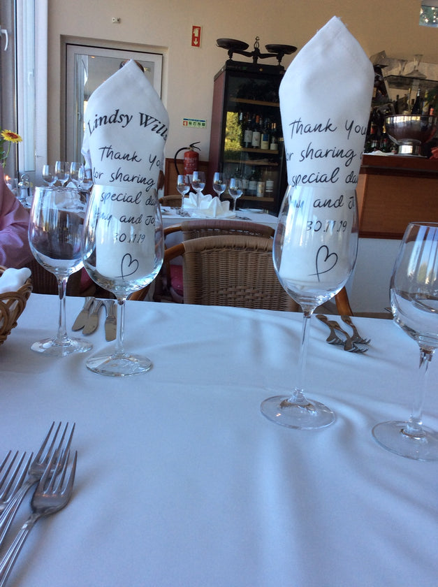 PERSONALISED NAPKIN SERVIETTE WEDDINGS, NAME PLACE, PARTY EVENTS - Haddow Group
