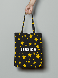 Personalised Star Print Canvas Tote Bag