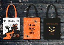 Load image into Gallery viewer, Personalised Halloween Trick or Treat Tote Bag