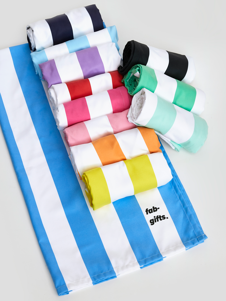 Striped Microfibre Towels Rolled Up