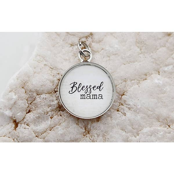 Blessed Mama Round Charm - Posh West Boutique
