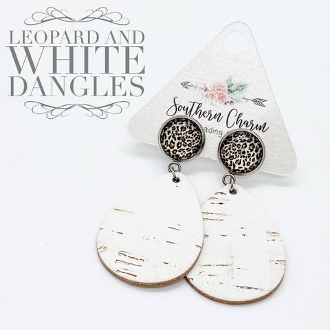 Leopard & White Dangle Corkie Earrings - Posh West Boutique