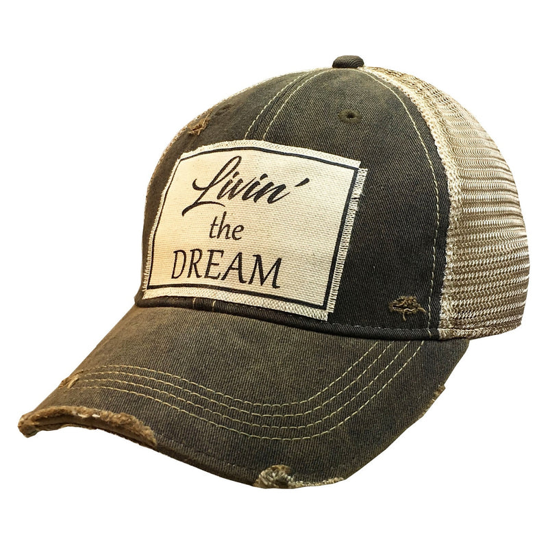 Livin the Dream Distressed Trucker Hat - Posh West Boutique