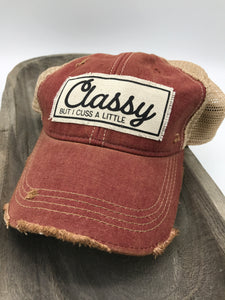 Classy/Cuss a Little Distressed Red Trucker Hat - Posh West Boutique