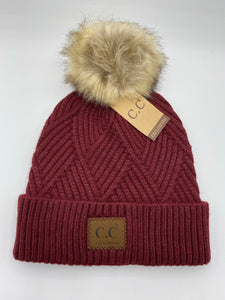 CC Heathered Pom Beanie-Berry - Posh West Boutique