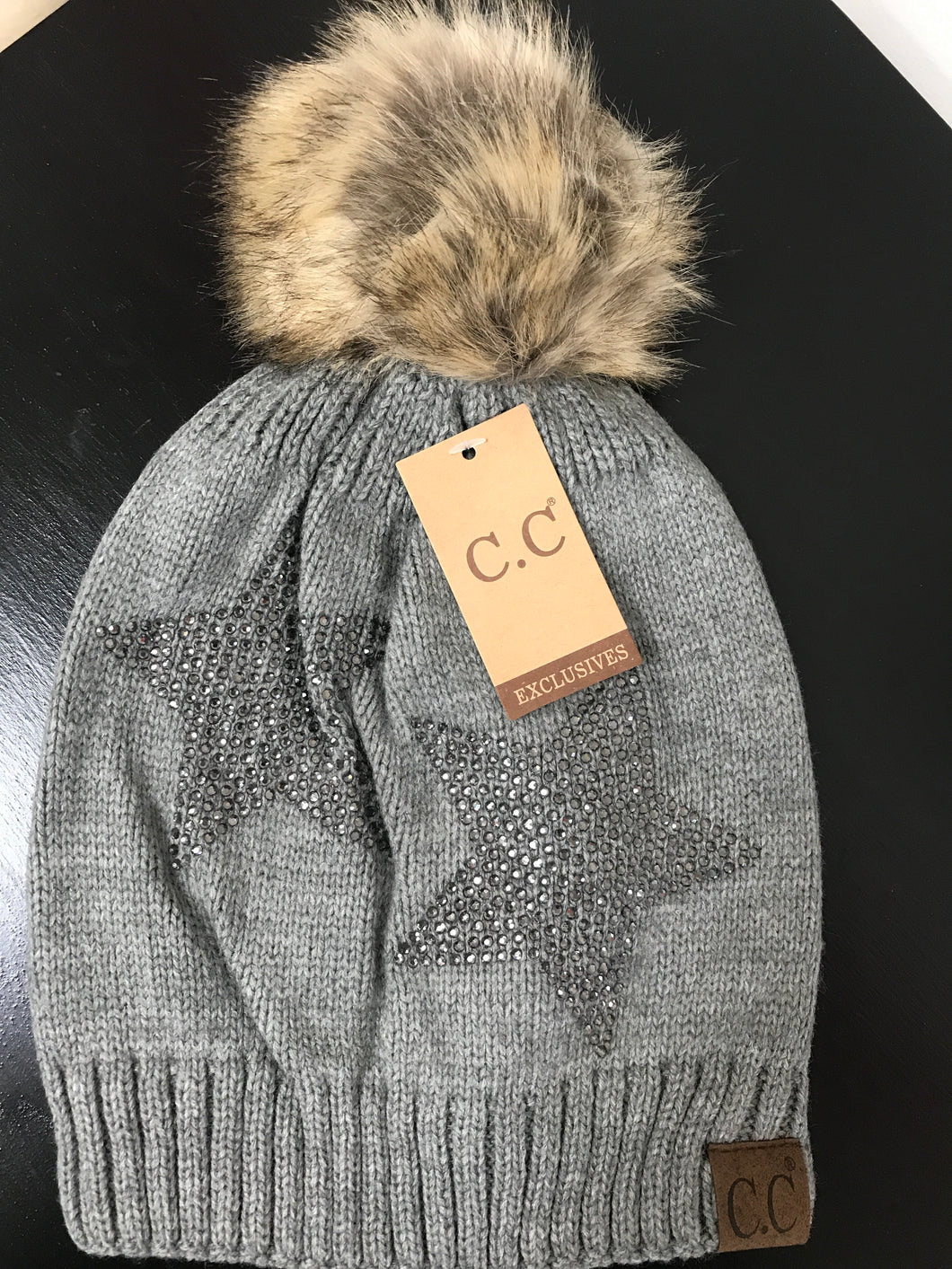 Rhinestone CC Fur Pom Star Hat- Lt Gray - Posh West Boutique