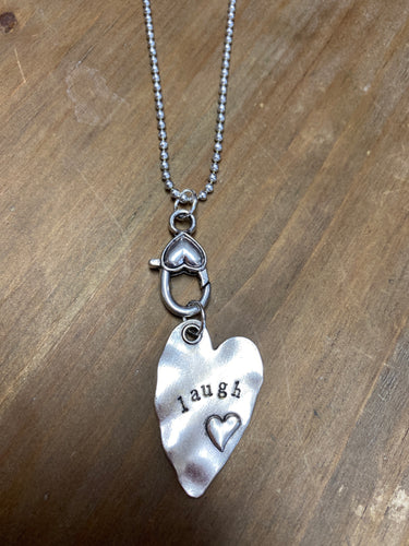 Hand Stamped Rustic Heart Laugh Charm - Posh West Boutique