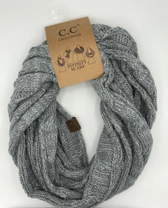 Gray/White Two Tone CC Infiniti Scarf - Posh West Boutique