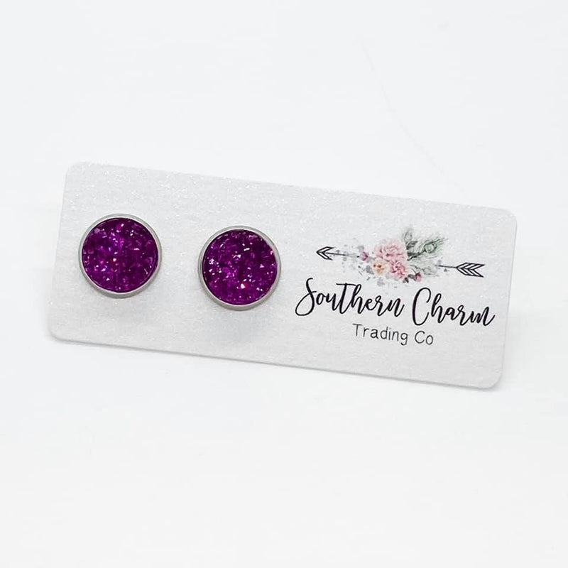 Magenta Druzy Earrings - Posh West Boutique
