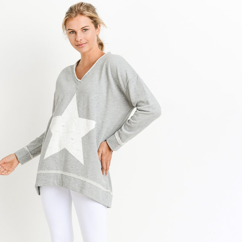Star V-neck Sweatshirt S-L only! - Posh West Boutique