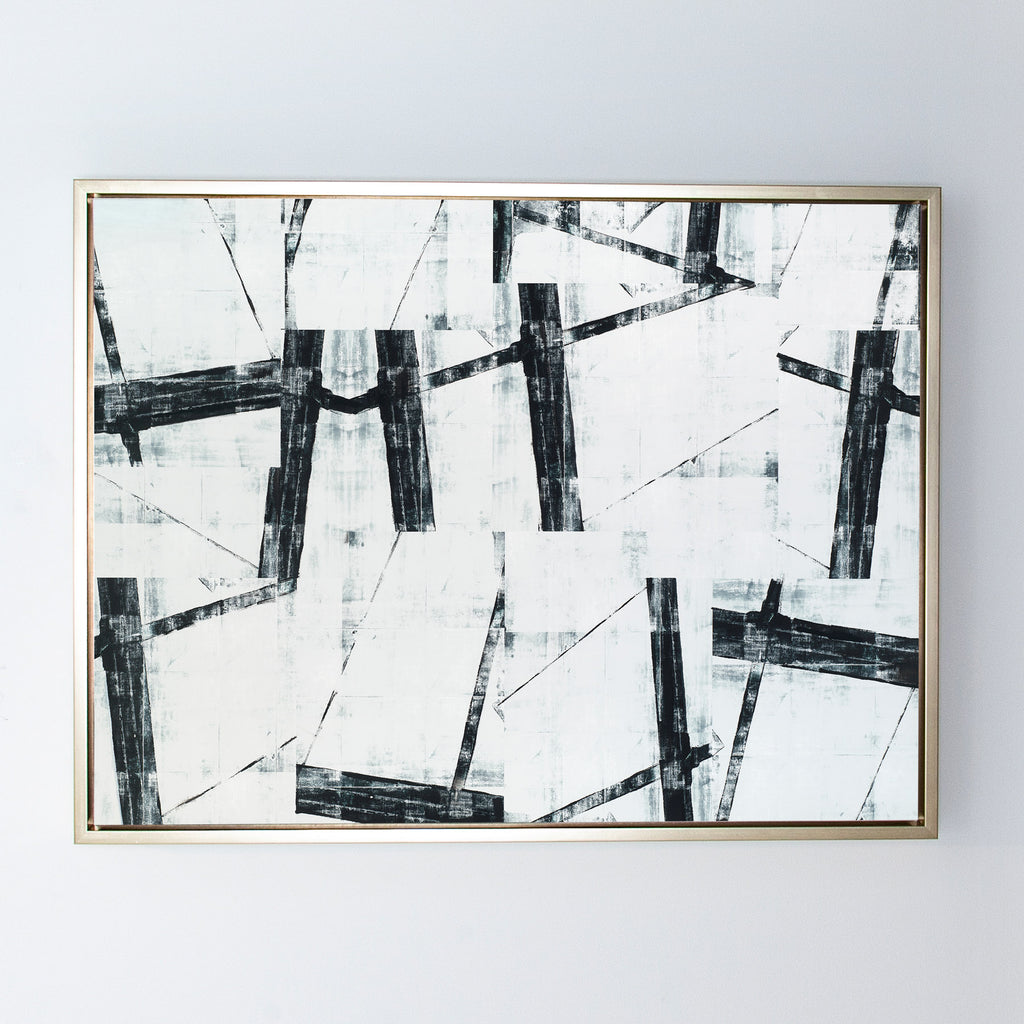 In Pieces canvas champagne frame
