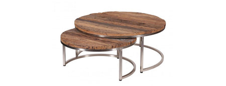 Besp Oak Nest of 2 Round Coffee Tables
