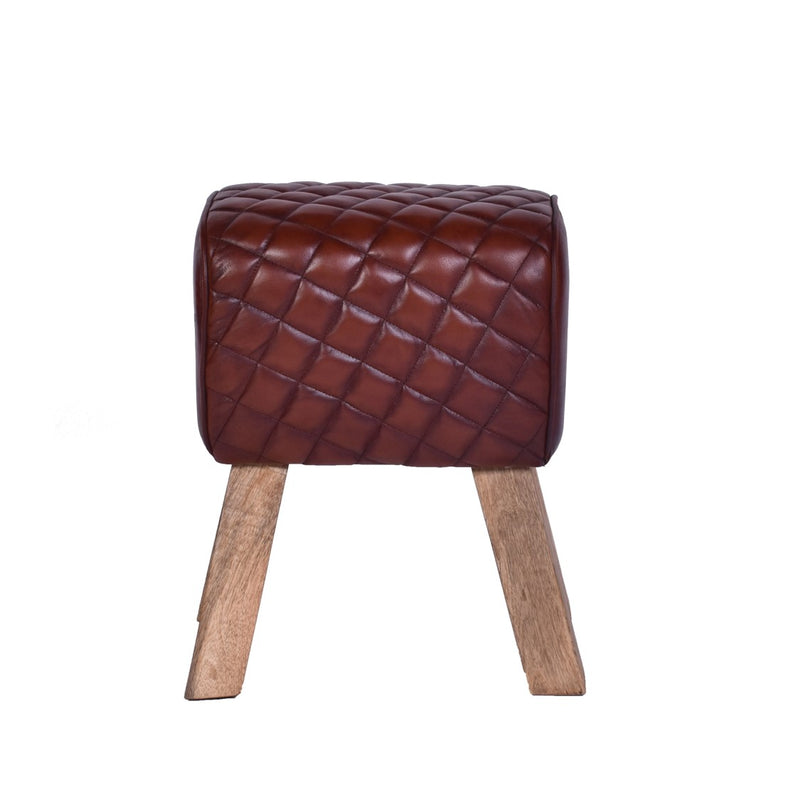 Vintage Leather Rectangle Stool