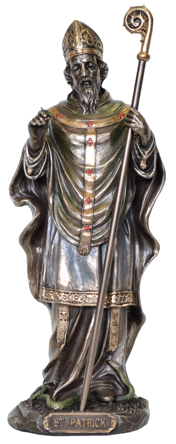 Veronese Bronze Catholic Saint Patrick Figurine Statue - Patron of Ireland