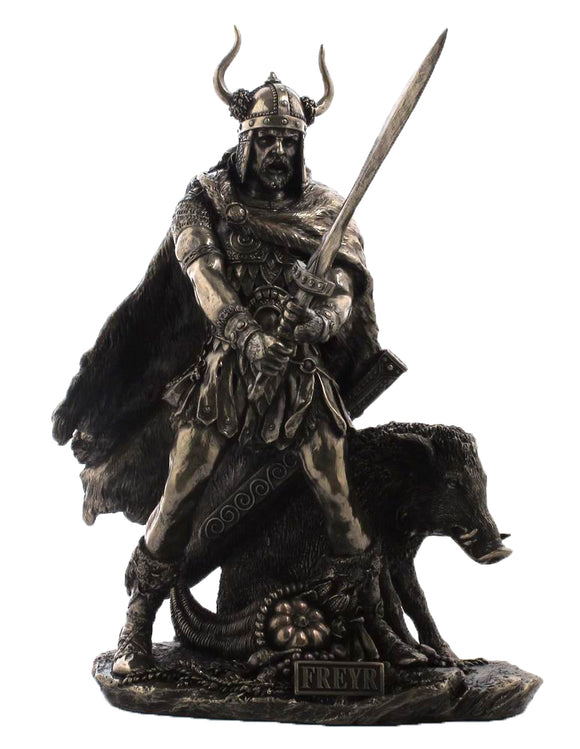 Veronese Bronze Freyr Figurine -  Viking Norse Fertility God Statue