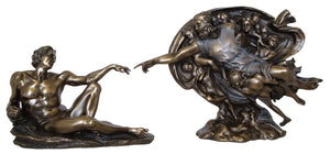Veronese Bronze Creation of Adam by Michelangelo 2 piece sculpture