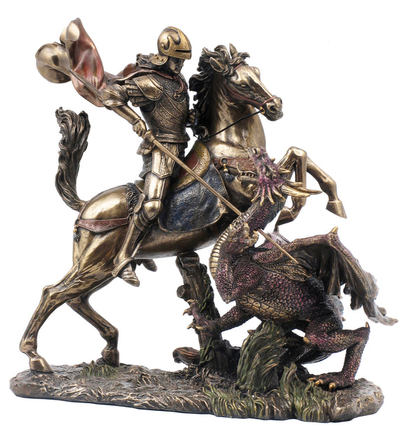 Veronese Bronze Saint George Slaying the Dragon Figurine Statue