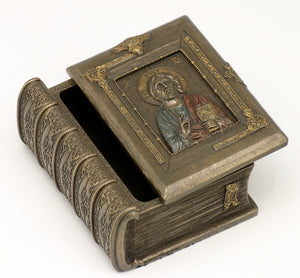 Veronese Bronze Catholic Holy Bible Trinket Jewellery Box