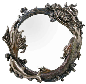 Veronese Bronze Mermaid and Dolphin Wall Mirror
