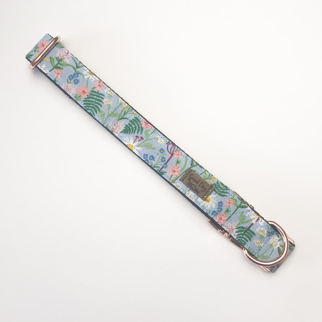 Spring Blue and Pink Floral Rifle Paper Co. Customizable Dog Collar