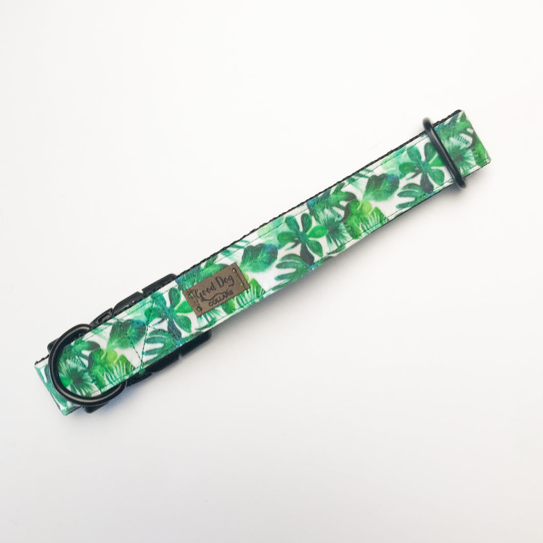 Spring Tropical Green Monstera and Palm Leaf Customizable Dog Collar