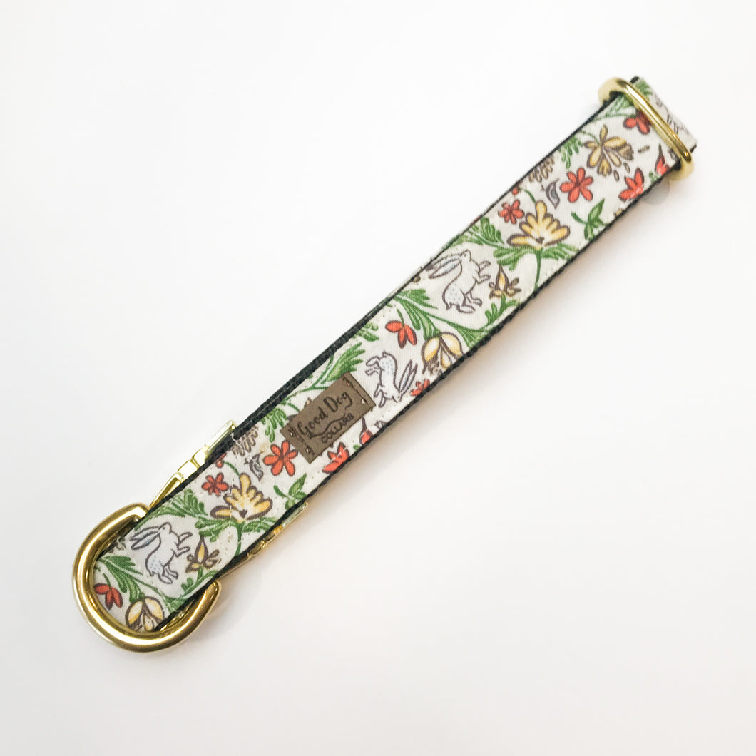 Spring Bunny Hop and Floral Dog Collar