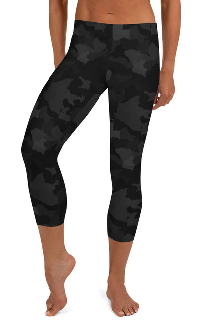 Midnight Camo Capri Leggings - Legs Of Anarchy
