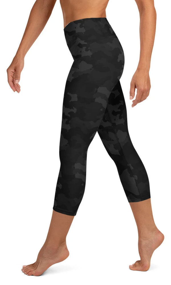 Midnight Camo Yoga Capri Leggings - Legs Of Anarchy