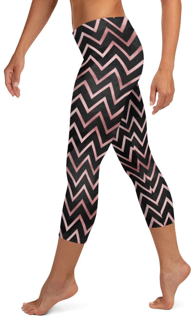 Rose Chevron Capri Leggings - Legs Of Anarchy