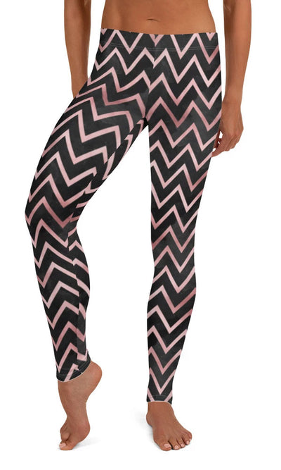 Rose Chevron Leggings - Legs Of Anarchy