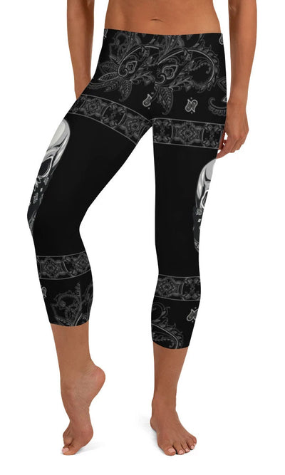 Gangsta Skull Capri Leggings - Legs Of Anarchy