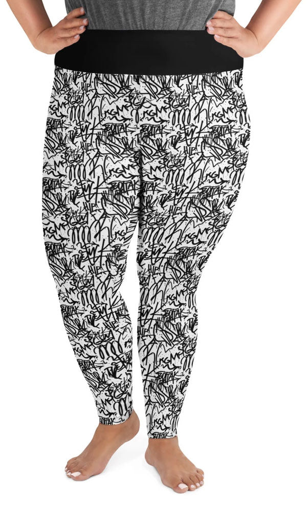 White Graffiti Plus Size Leggings - Legs Of Anarchy