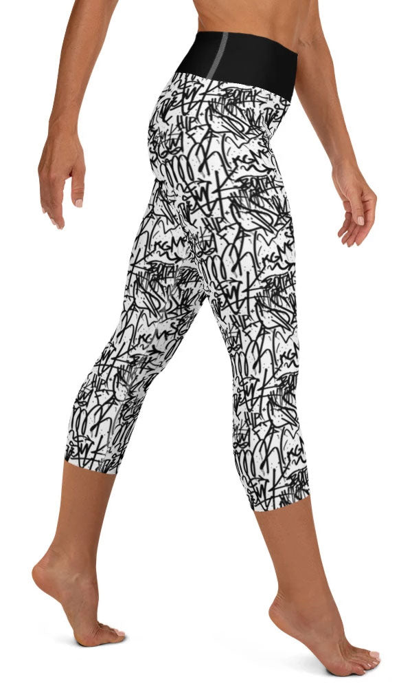 White Graffiti Yoga Capri Leggings - Legs Of Anarchy