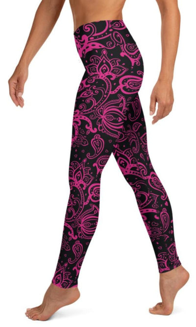 Hot Pink Paisley Yoga Leggings - Legs Of Anarchy