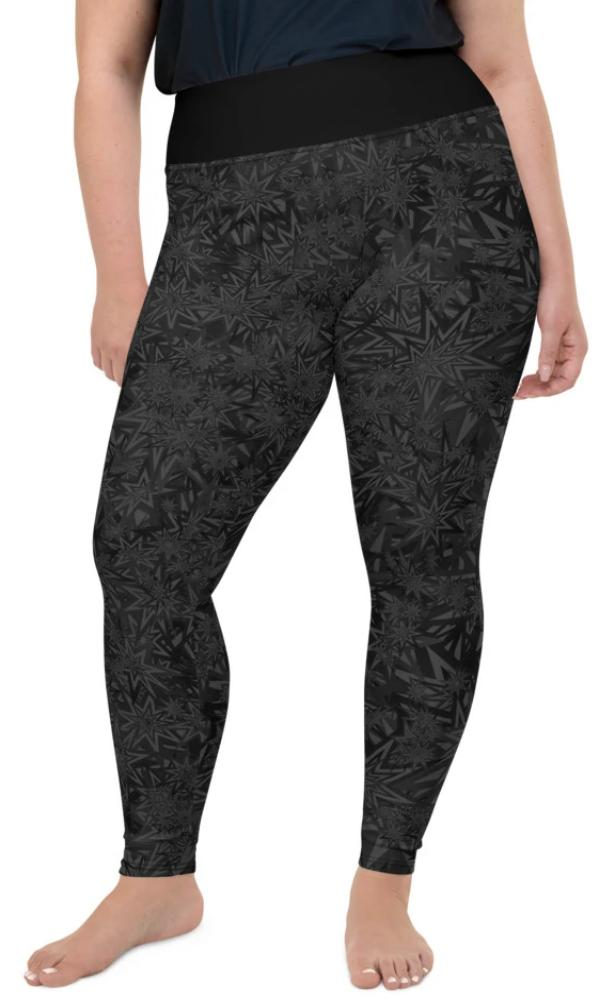 Black Stars Plus Size Leggings - Legs Of Anarchy