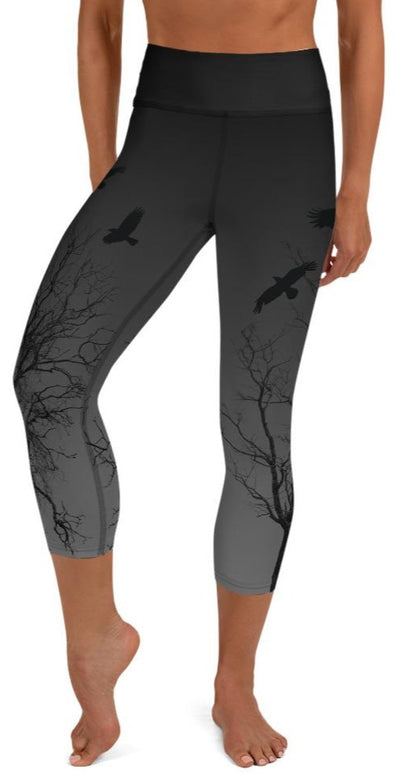 Murder Of Crows Yoga Capri Leggings - Legs Of Anarchy