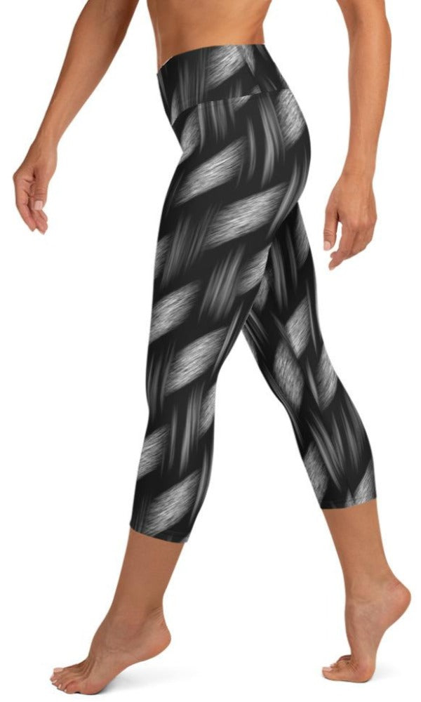 Dark Weave Yoga Capri Leggings - Legs Of Anarchy