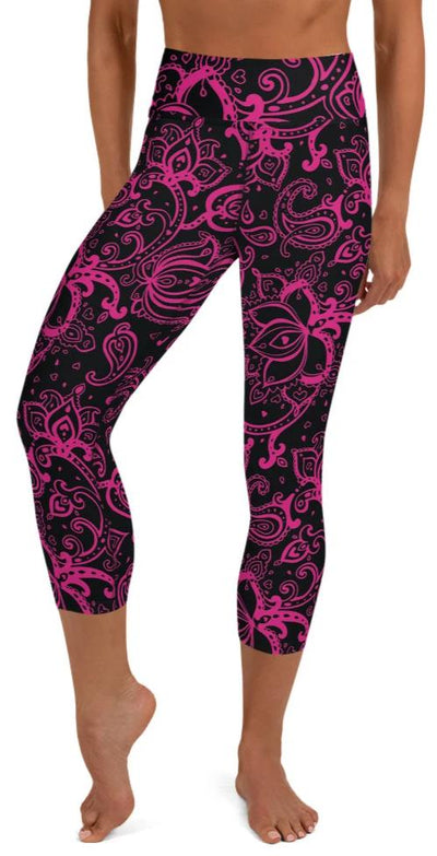 Hot Pink Paisley Yoga Capri Leggings - Legs Of Anarchy
