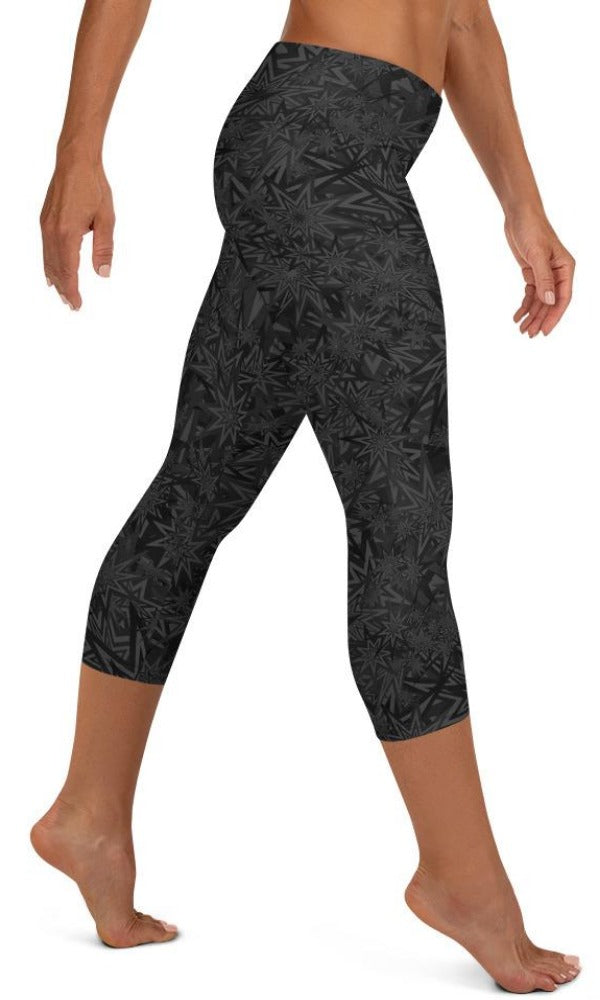 Black Stars Capri Leggings - Legs Of Anarchy
