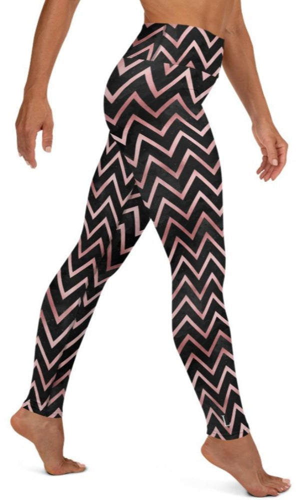 Rose Chevron Yoga Leggings - Legs Of Anarchy