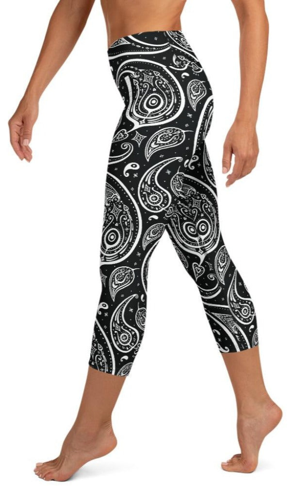 Paisley Yoga Capri Leggings - Legs Of Anarchy