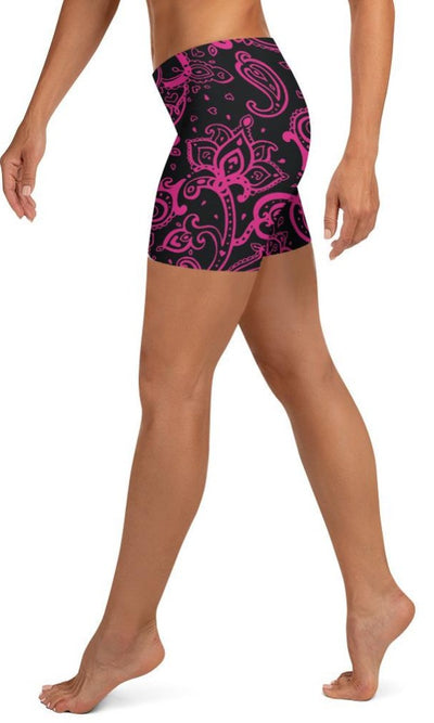 Hot Pink Paisley Shorts - Legs Of Anarchy