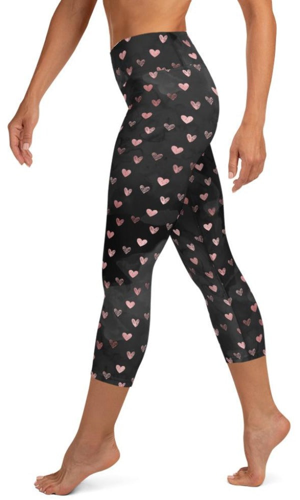 Dark Hearts Yoga Capri Leggings - Legs Of Anarchy