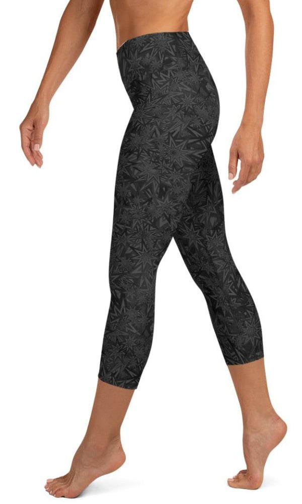 Black Stars Yoga Capri Leggings - Legs Of Anarchy