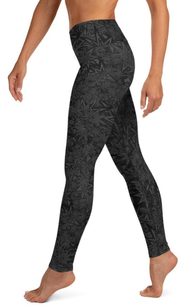 Black Stars Yoga Leggings - Legs Of Anarchy